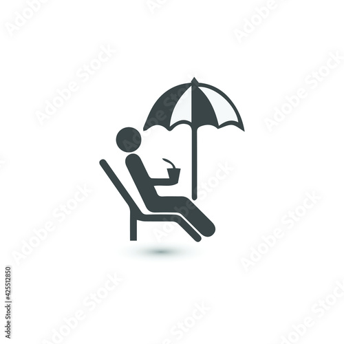 Fotografia Relax Icon Illustration. Flat symbol. Simple Pictogram and text