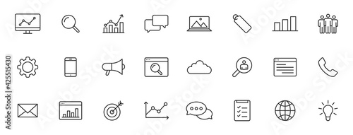 Fotografering Set of 24 SEO and Development web icons in line style