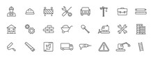 Set Of 24 Construction Web Icons In Line Style. Building, Engineer, Business, Road, Builder, Industry. Vector Illustration.