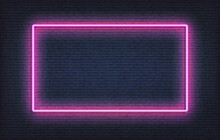 Neon Frame Sign Template. Realistic Purple Signboard Glowing Design