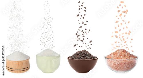 Obraz na plátne Set with different kinds of salt on white background