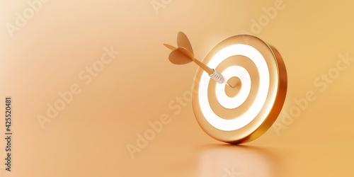 Canvas Print Golden arrow aim to dartboard target or goal of success on business background with complete achievement concept