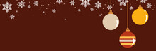 Flat Style Vector Illustration Of Snowflakes And Christmas Ball Background For Festive Christmas Banner And Web Design. Traditional Winter Holiday Celebration Concept. Merry Christmas Frame Design.