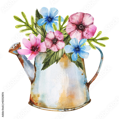 Fotografía Rusty watering bucket can hand drawn in watercolor