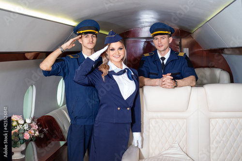 Canvastavla Flight attendants and pilots, aircraft crew welcome aboard,