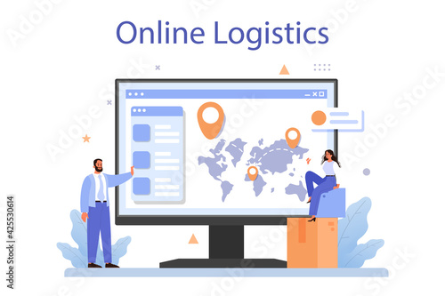Obraz Raw material supply online service or platform. Suppliers, B2B idea, - fototapety do salonu