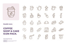 Coffee Shop And Cake Concept Doodle Icon Set. Stroke Line Style Food Icons Sign Symbol Vector Illustration