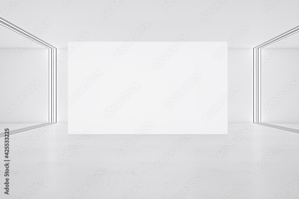 Fototapeta White big poster on glossy floor in minimalistic interior design hall. 3D rendering, mock up