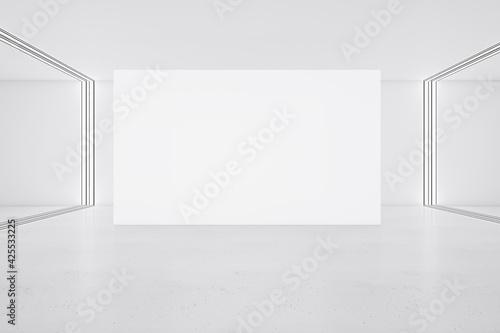 Obraz White big poster on glossy floor in minimalistic interior design hall. 3D rendering, mock up - fototapety do salonu