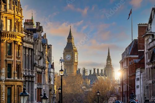 Obraz na plátně London city skyline with Big Ben and Houses of Parliament, cityscape in UK