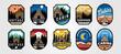 set of vector cottage outdoor logo emblem vector illustration design, adventure cabin camp badge vector design