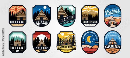 Obraz na plátne set of vector cottage outdoor logo emblem vector illustration design, adventure