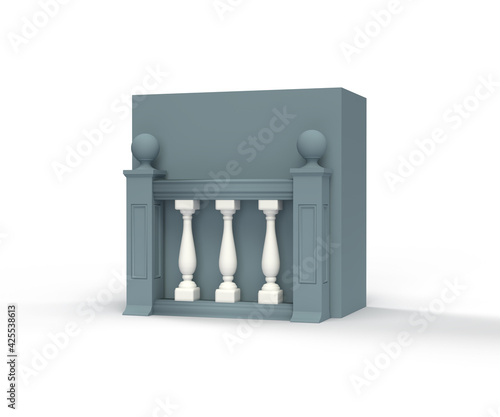 Fotografia 3D illustration, icon, classic architecture balustrade baluster pillar, isolated