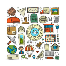 Post Office, Icons Collection. Art Background For Your Design