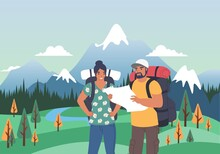 Happy Tourist Couple With Backpacks Looking At Map, Flat Vector Illustration. Summer Tourism, Hiking, Trekking.
