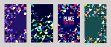 Backgrounds And Cover Templates Vector Set, Abstract Geometric Designs, Bright Color Compositions With Copy Spaces For Text, Complex Modern Art Layout.