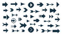 8 Bit Pixel Arrows Vector Big Set Of Icons, Collection Of Arrow Direction Cursors In Old PC Or Gaming Console Style, Single Color Symbols For Logos.