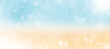 Seascape And Sand On A Blurred Background With Bokeh. Marine Background Illustration. Summer Concept