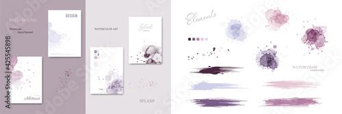 Fotografia Set of watercolor splash blot and brush strokes