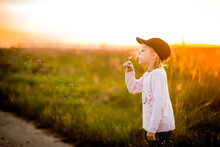 Happy Childhood,children Blow On Dandelions At Sunset, Outdoor Kids, Sunset And Lilac Blossom, Selective Focus