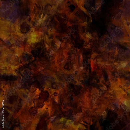 Fototapeta Grunge distressed dark orange yellow red splashed textured design, old messy war