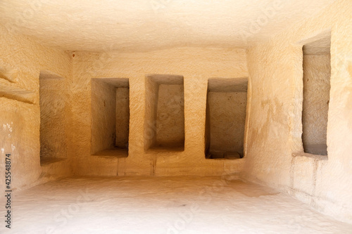 Tela Al Ula, Saudi Arabia, February 19 2020: Burial chamber carved in stone in the to