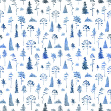 Watercolor Trees Seamless Pattern. Blue Forest Hand Drawn Background
