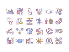 Virus Mutations RGB Color Icons Set. Different Types Of Illness Mutating Around All World Countries. Dealing With Corona Virus Pandemia. Isolated Vector Illustrations