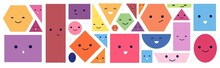 Cute Geometric Faces. Isolated Polygon Face With Eyes And Emotions. Circle Shape Characters. Funny Cartoon Abstract Kids Utter Vector Elements