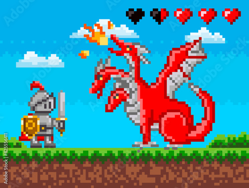 Obraz Pixelated natural landscape with warrior holding shield and sword fighting against red dragon - fototapety do salonu