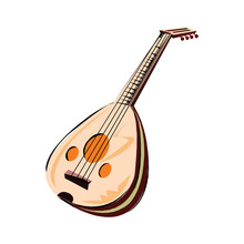 Musical Instruments Series. Traditional Ukrainian Kobza, Isolated On White Background. Vector Illustration
