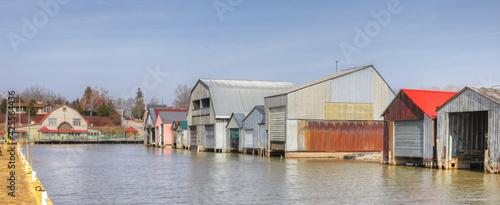 Panorama view of harbor and boathouses in Port Rowan, Ontario, Canada Fotobehang