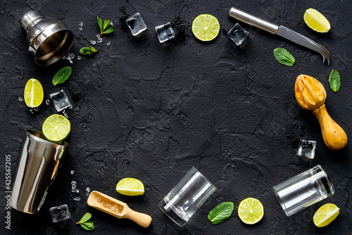 Frame of bar equipment and cocktail ingredietns - shaker, lime and ice Wallpaper Mural