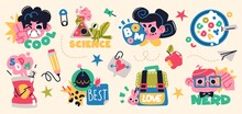 Back To School Collection Of Characters And Elements. Vector