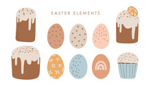 Abstract Easter Cake And Colored Eggs Set, Boho Sweet Bread Set, Delicious Easter Cake Decoration, Colorful Multi-colored Decor Cake, Happy Easter Vector Card
