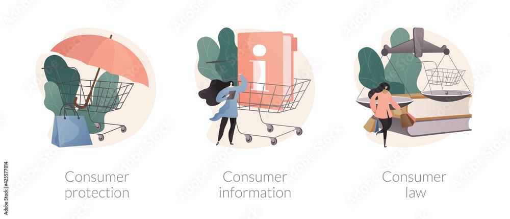 Fototapeta Buyers rights regulation abstract concept vector illustrations.
