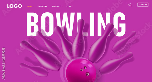 Slika na platnu Modern web banner or poster with violet monochrome 3d bowling pins hit by ball,