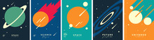 Space. Cosmos. Set Of Vector Illustrations. Wallpaper, Poster, Cover. Simple Flat Illustrations About Space And The Science Of The Universe.