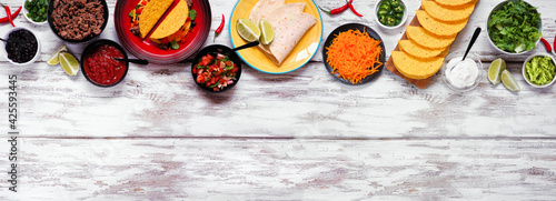 Fotografía Taco bar top border with an assortment of ingredients