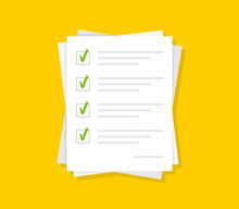 Paper White Papers With Green Check Marks On Yellow Background. Confirmed Or Approved Document. Stack Of Paper Sheets. Survey Or Exam, Answer List, Legal Agreement. Vector Illustration In Flat Design