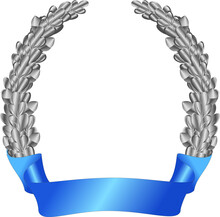 Silver Heraldic Oak Wreath-a Symbol Of Courage On A White Background. Vector Image.