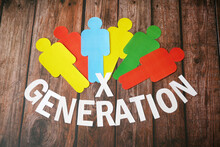Different People Symbols On Wooden Background, Generation X Concept