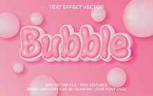 Text Effect Vector Illustration, Pink Bubble Text Style.