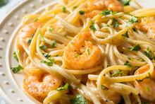 Homemade Shrimp Fettuccine Alfredo Pasta