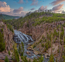Gibbon Falls In Yellowstone National Park In Wyoming In The USA