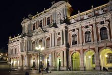 Turin, Piedmont/Italy -04/20/2019- Turin Carlo Alberto Of Savoy Square And The Carignano Palace, Site Of Risorgimento Museum By Night