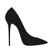 Elegant High Heel Shoe Or Stiletto In Vector Silhouette