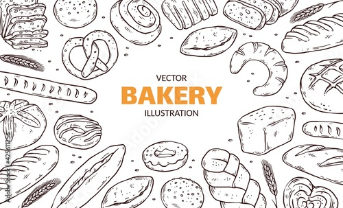 Photo Banner or poster with hand drawn bakery products, doodle vector illustration