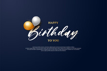 Happy Birthday Background With Two Balloons Above The Writing