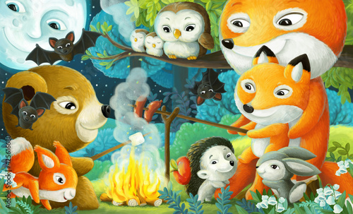 Fototapeta premium cartoon scene with different forest animals friends having fun together illustration